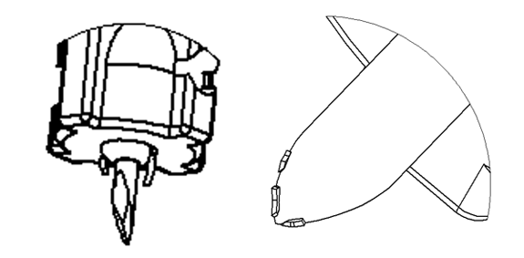 Figure 9: Drawings showing typical flake location remaining on lancet base (left), and needle (right)