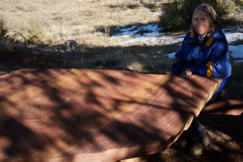 Sharon Sits at a Trailside Table Made from Picture Rock (Canon 7D with 18-200mm lens at 35mm, f/11, 1/640, ISO 800)