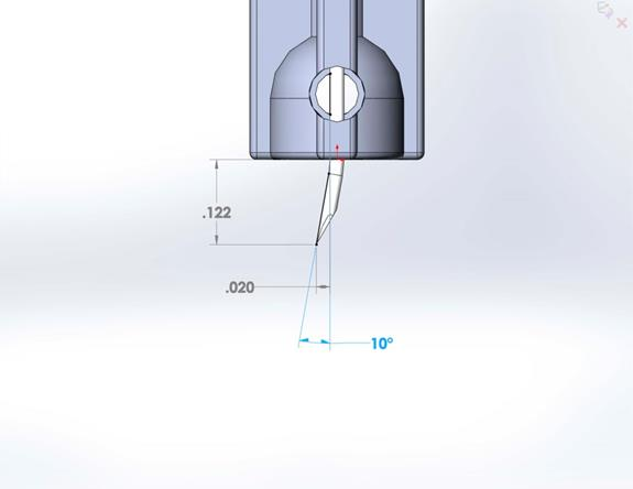 Figure 3: Proportioned drawing of needle bent right out of the box.
