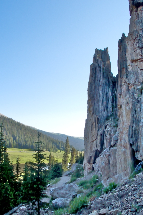 The Rock Spires and Hanging Gardens near Poudre Lake