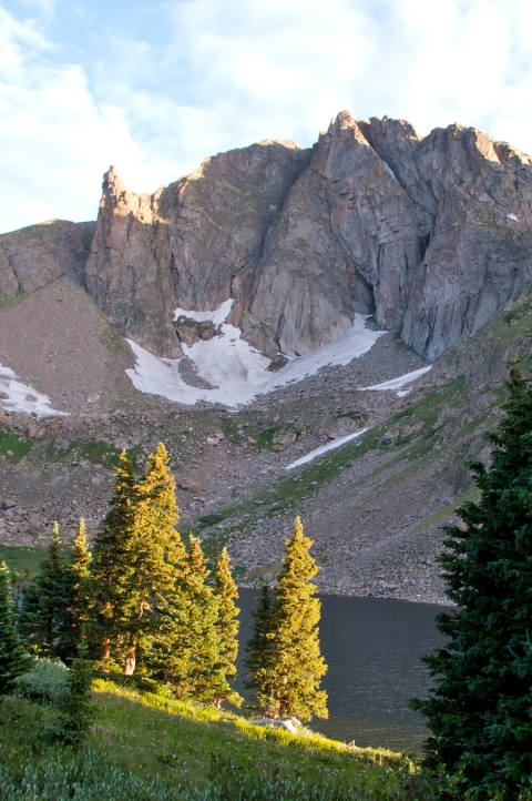 Devils Thumb and Devils Thumb Lake at First Light Yesterday from My Campsite