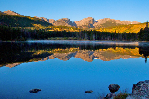 Sprague Lake and the Rocky Mountains at First Light