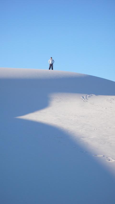 Karen atop a dune