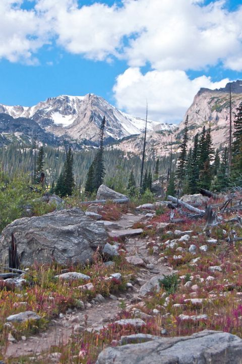 On the Trail to the Lake with Ouzel Peak Ahead