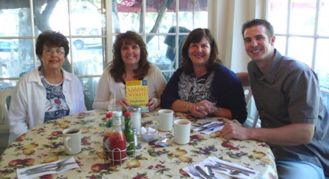 Breakfast: Liz, Julie (holding my new book), Kathy, Matt