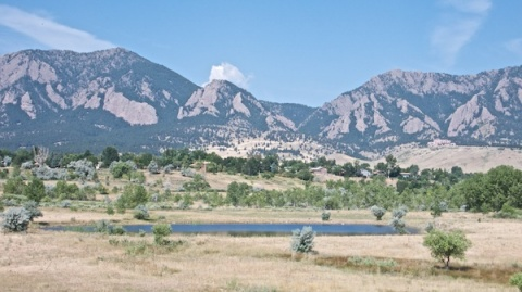 A Pond on South Campus with South Boulder and Green Mountains