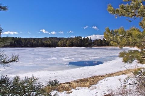 Mostly Frozen Kossler Lake at 7700 Feet