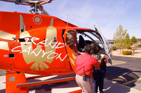 A Passenger Disembarks from our Helicopter Flight