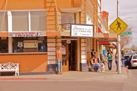 Standing on the Corner of North Kinsley Avenue and U.S. Route 66 in Winslow, Arizona