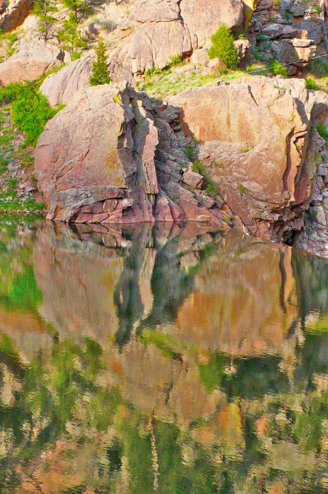Longmont Reservoir Reflects Rocks