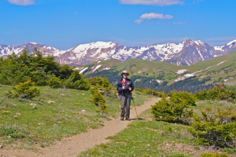 Mark on the Old Ute Trail in Front of the Gore Range