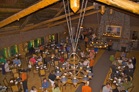 Part of Old Faithful Inn's Dining Room, Where I Ate Breakfast and then Dinner (Rainbow Trout)