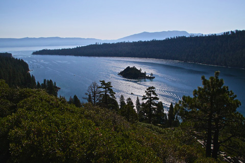 Emerald Bay is on the California Side