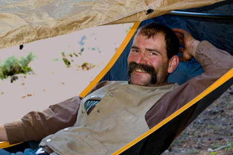 Our Wrangler, Marty Johnson, Resting in his Hammock - (Photo Courtesy of RC Vasavada)