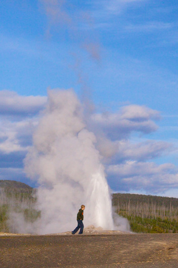 Tail End of Old Faithful Eruption