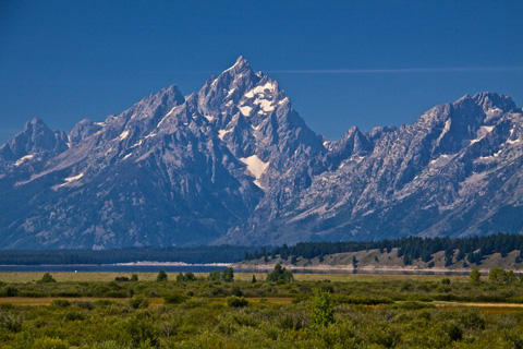 The Majestic Teton Range Rises Sharply Above Jackson Lake