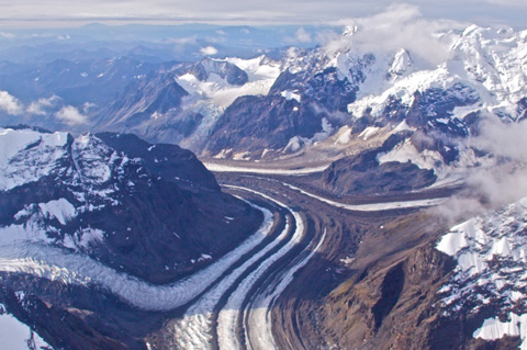 Six-Lane Glacier in Denali National Park (Straightened)