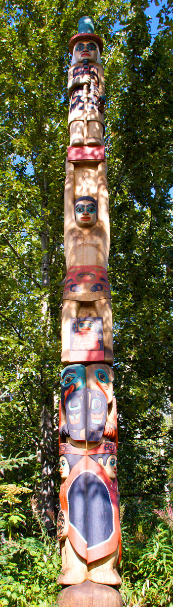A Modern Totem Pole at the Alaska Native Heritage Center