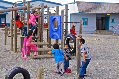 Eskimo Children Playing at the Teller School