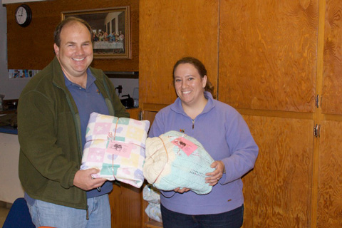  David and Julie with Donations from the Lower 48