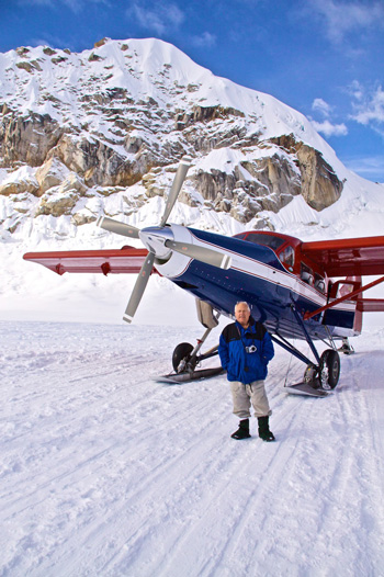 John and the Plane on the Glacier