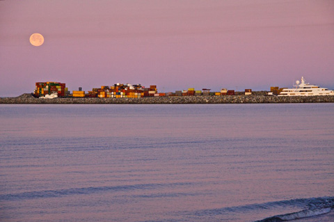 Full Moon at Sunrise Over the Port of Nome