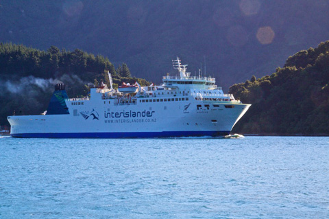 A Ferry En Route to Wellington Through the Queen Charlotte Sound