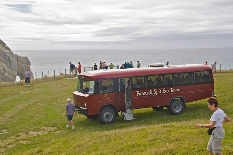 Tour Bus at Cape Farewell