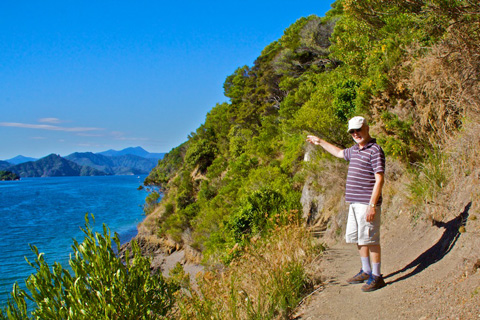 Graeme on the Trail Along the Queen Charlotte Sound