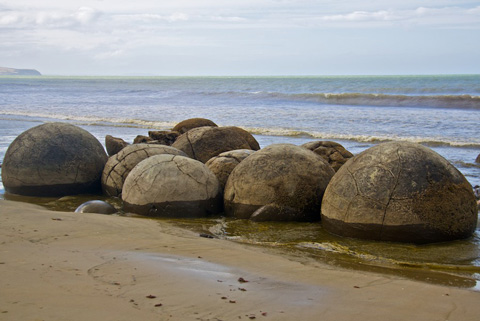 Some of the Moeraki Boulders on the Beach