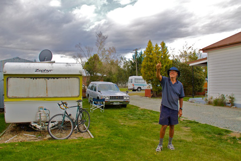 From Left: Marv's Trailer, Bike, Car, Graeme's Camper Van, Marv, His Fairlie House