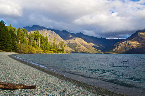 Wilson Bay of Lake Wakatipu on the Road to Glenorchy