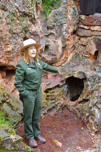 Ranger Tami Points Out the Only Known Natural Entrance to Wind Cave