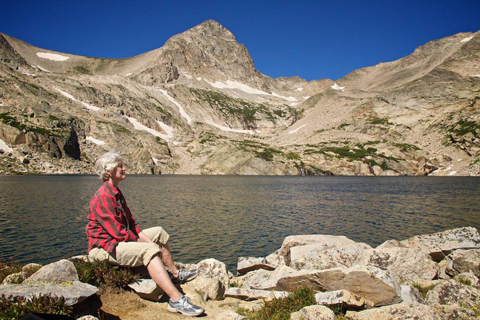 Diana Enjoys the Sun at Blue Lake, 11,309 Feet, and Mount Toll, 12,979 Feet