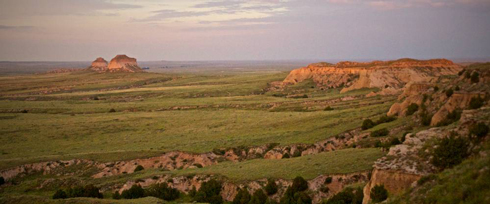 A Panorama of the Pawnee Buttes and Nearby Cliffs