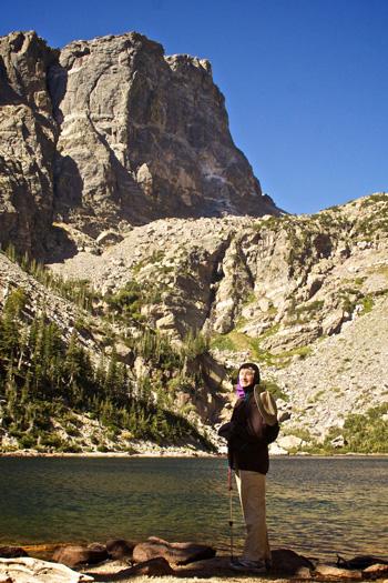 Diana at Emerald Lake and Hallett Peak