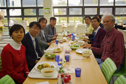 Lunch at i-SENS: Margaret, Dr. Nam, Four Visiting Professors, Dr. Cha, Me