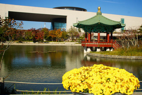 The National Museum of Korea, the Reflecting Pool, and the Pavilion with Celadon Roof Tiles