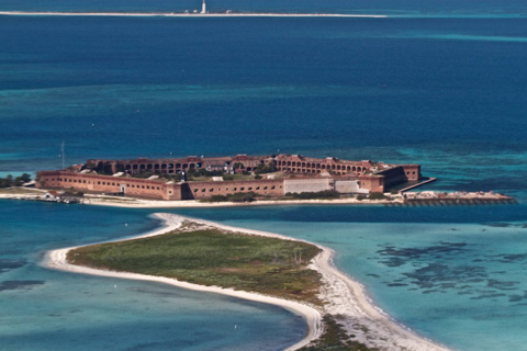 Fort Jefferson on Garden Key with Bush Key in the Foreground and the Lighthouse in the Background