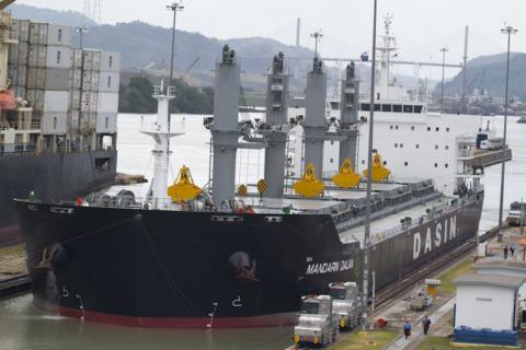 A Ship in Miraflores Locks on the Panama Canal