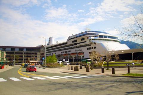 A Holland-America Liner on the Right and Juneau's Parking Garage/Library on the Left