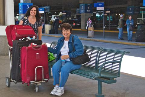 Julie (left) and Liz Arrive at DIA Prepared for Anything