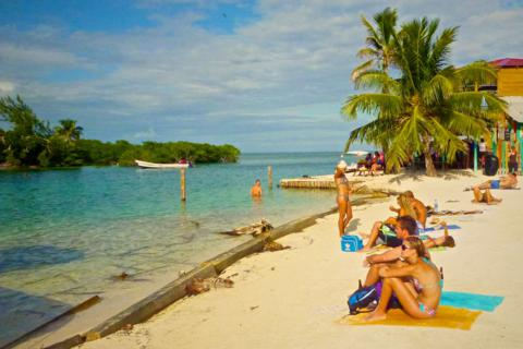 Most of the Other Tourists Hung Out at the Split Between the Caye's Two Parts