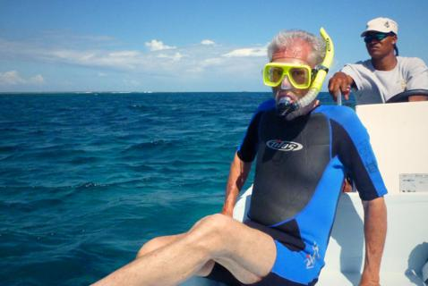Looking a Bit Uneasy, I Am Ready to Go Snorkeling for the First Time since 1969