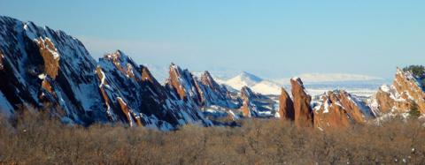 The Red Rocks of Roxborough with Denver in the Distance
