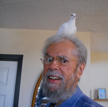 "Me and ""Shalom,"" a Peace Dove, a White Morph Ringneck Dove"
