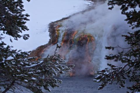 The Midway Geyser Basin Flows into the Firehole River