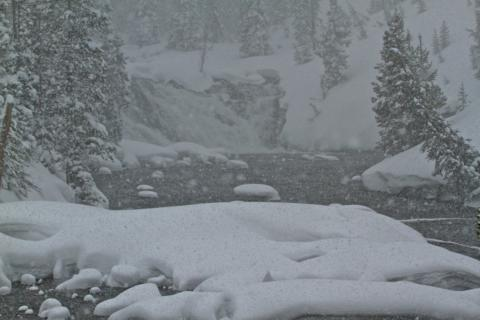 Snow Falls on Lewis Falls