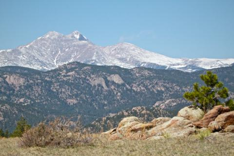 Mount Meeker, 13,911 feet, at Left, and Longs Peaks, 14,259 Feet Behind It