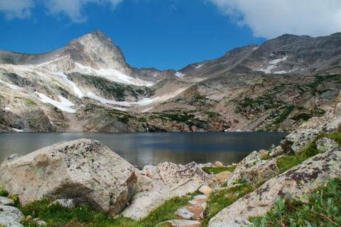 Blue Lake, High in the Rocky Mountains, and Mount Toll, Just as Clouds Rolled In